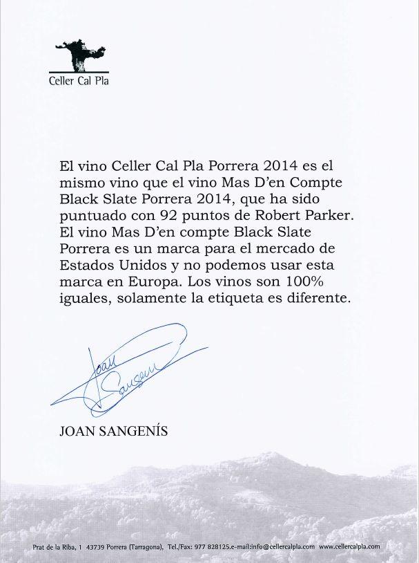 Verklaring Celler Cal Pla Porrera 2014